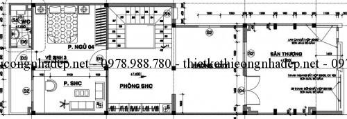 Mặt bằng tầng 3 nhà phố 12x17m