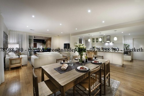 Bếp và phòng khách biệt thự 12x26m