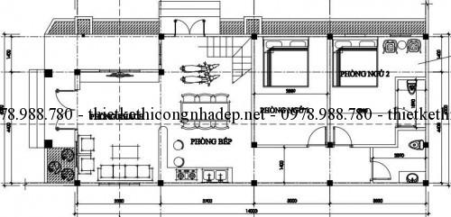 Mặt bằng tầng 1 nhà cấp 4 gác lửng 6x14m