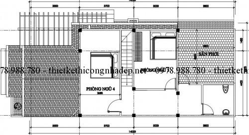Mặt bằng tầng lửng nhà cấp 4 gác lửng 6x14m