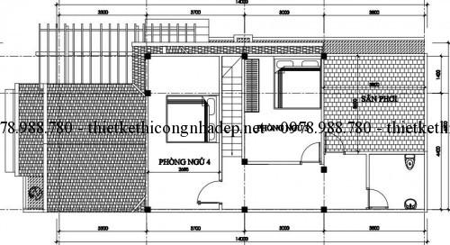 Mặt bằng tầng lửng nhà cấp 4 gác lửng 6x14m pa2