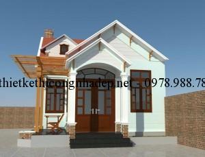 Mẫu thiết kế nhà cấp 4 có gác lửng đẹp mái tôn 6x14m