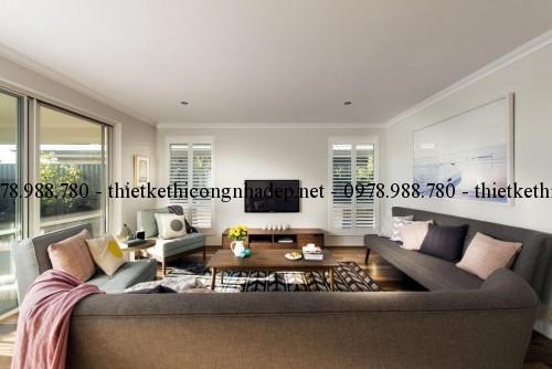 Phòng khách biệt thự vườn 11x22m