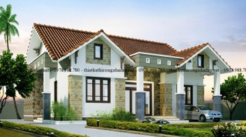 Thiết kế biệt thự vườn 1 tầng mái thái tại Phú Thọ 10x13m