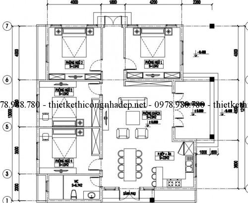 Mặt bằng biệt thự vườn 1 tầng mái thái 10x13m