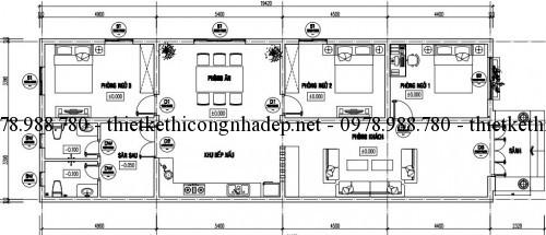 Mặt bằng nhà cấp 4 mái ngói 7x20m