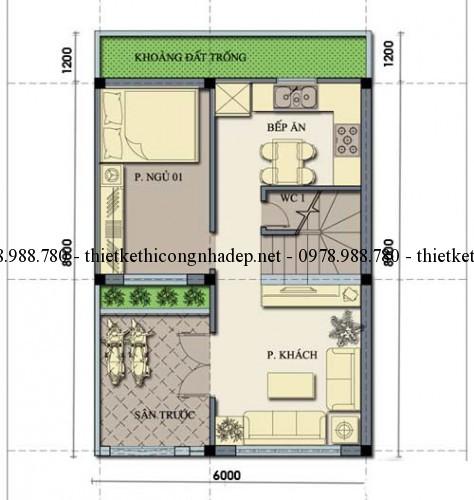 Mặt bằng tầng 1 nhà 2.5 tầng 6x8m