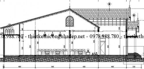 Mặt bên nhà cấp 4 mái ngói 7x20m