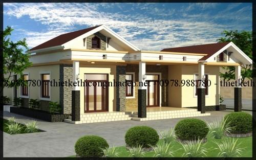 Thiết kế nhà biệt thự vườn 1 tầng 14×14.5 tại Thái Nguyên