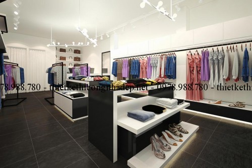 Phối cảnh nội thất cửa hàng quần áo