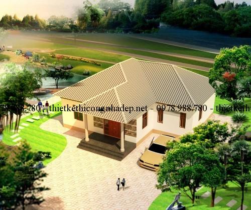 phoi canh biet thu 130m2 goc 1 500x419 - Xây nhà vườn 1 tầng mái thái đẹp 130m2 với kinh phí 500 triệu