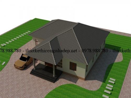 phoi canh biet thu 130m2 goc 3 500x375 - Xây nhà vườn 1 tầng mái thái đẹp 130m2 với kinh phí 500 triệu