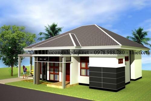 Mẫu thiết kế nhà vườn một tầng mái ngói hiện đại 11×12.5m