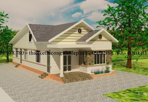 Bản vẽ thiết kế nhà cấp 4 mái thái 7x17m tại Đăk Lăk