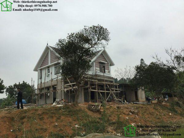Hình ảnh thực tế biệt thự nhà vườn 2 tầng tại Nghệ An