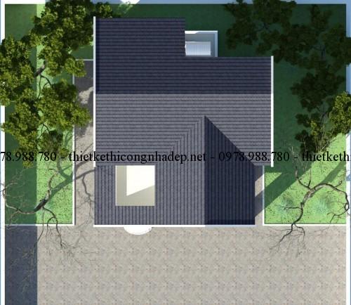 Mặt bằng mái biệt thự 2 tầng 8x11m