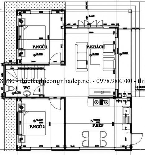 Mặt bằng tầng 1 nhà 2 tầng 8x10m