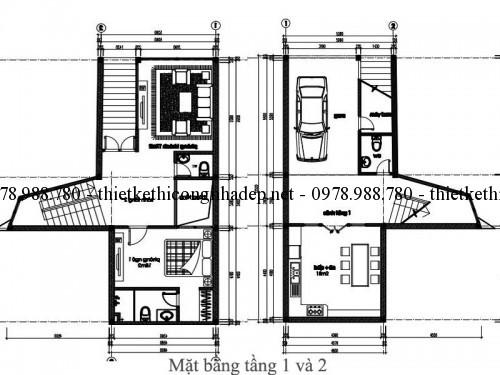 Mặt bằng tầng 1 và 2 nhà phố 5x12m