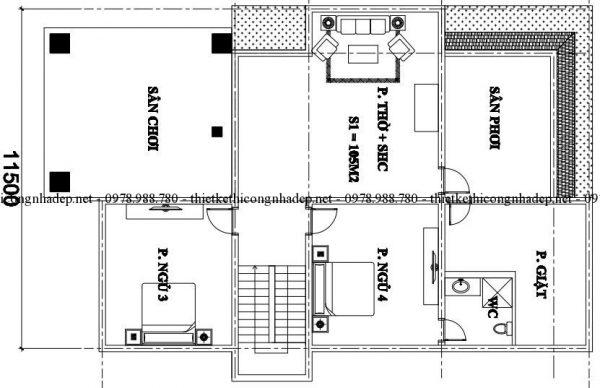Mặt bằng tầng 2 biệt thự mái thái 250m2