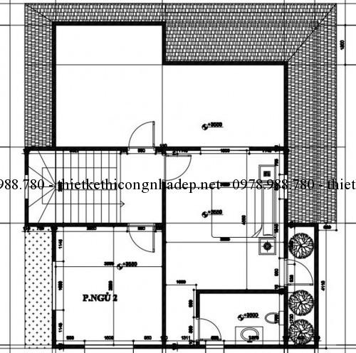 Mặt bằng tầng 2 nhà 2 tầng 8x10m
