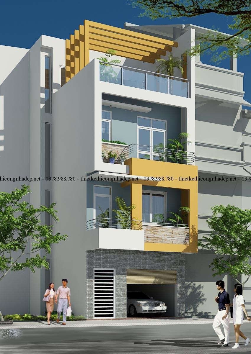 Phối cảnh nhà phố 5x12m góc 1