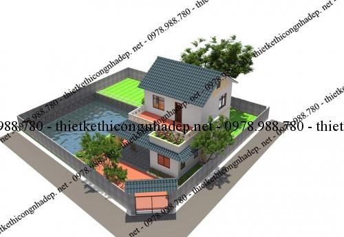 Phối cảnh thiết kế nhà 2 tầng 8x10m góc 4