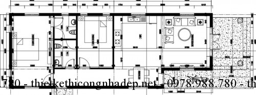 Mặt bằng nhà cấp 4 6x16m