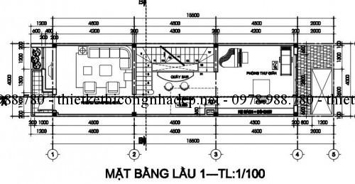 Mặt bằng tầng 2 nhà phố 4x18.5m