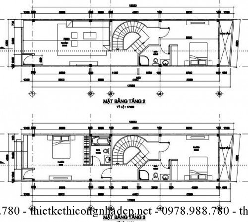 Mặt bằng tầng 2 và tầng 3 nhà phố 4x18m