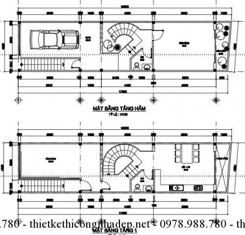 Mặt bằng tầng hầm và tầng 1 nhà phố 4x18m