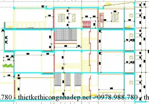 Mặt cắt nhà phố 3 tầng 5x17.5m