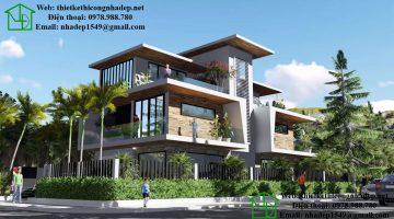 Thiết kế nhà biệt thự 3 tầng đẹp mái thái 12x14m