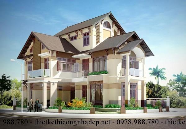 Thiết kế biệt thự 3 tầng mái thái hình chữ L 10x16m