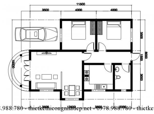 Mặt bằng nhà 1 tầng 8x12m