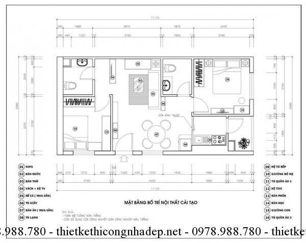 Mặt bằng nội thất chung cư 70m2