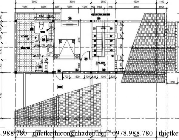 Mặt bằng tầng 3 biệt thự 10x16m