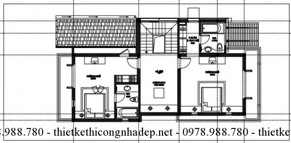 Mặt bằng tầng 3 biệt thự 3 tầng 8x15m