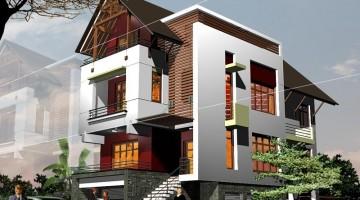 Mẫu thiết kế biệt thự nhà phố 3 tầng mái thái 8x15m