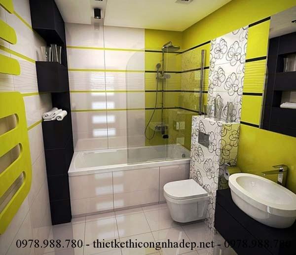 Màu xanh là màu chủ đạo cho thiết kế nội thất phòng tắm