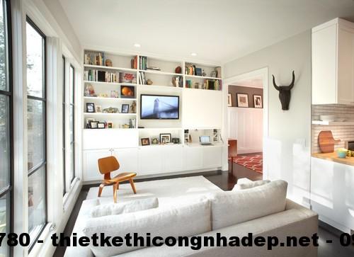 Tủ âm tường giúp tiết kiệm một khoảng không gian cực lớn cho phòng khách
