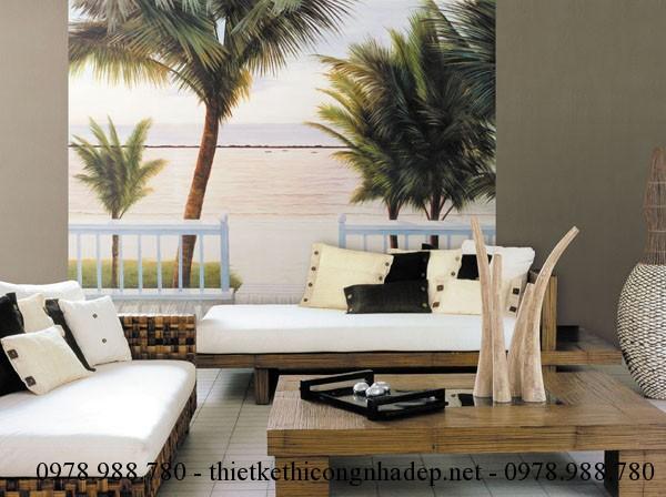 Giấy dán tường với hình ảnh bãi biển