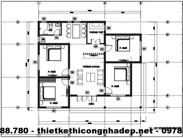 Mặt bằng bố trí nội thất biệt thự 11x13m