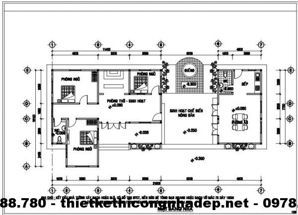 Mặt bằng nội thất nhà cấp 4 10x12m