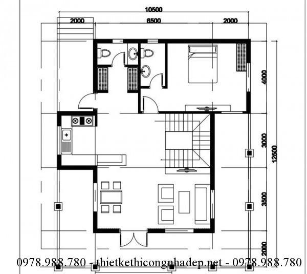 Mặt bằng tầng 1 biệt thự Country House 10x12m