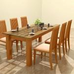 Các mẫu bàn ghế ăn bọc nệm gỗ tự nhiên hiện đại