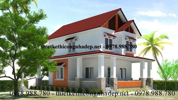 Mẫu thiết kế biệt thự 2 tầng Country House hiện đại 10x12m