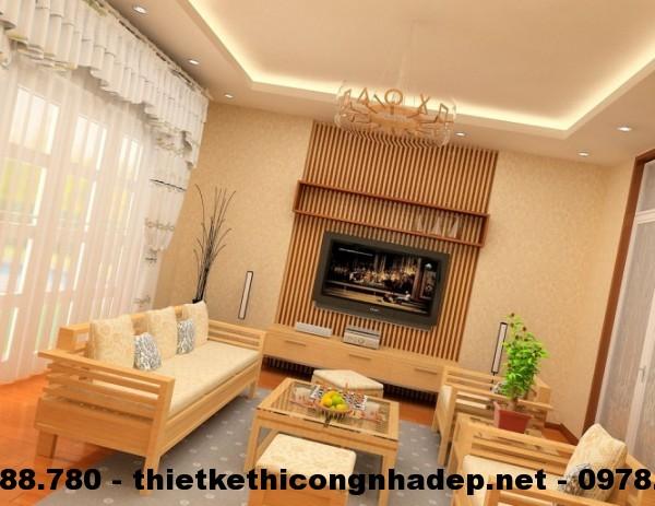 Phòng khách với tông màu ấm áp