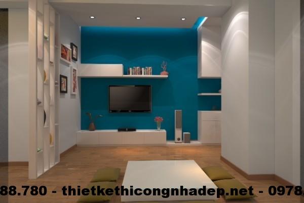 Thi công nội thất chung cư giá rẻ với phòng khách nhỏ xinh