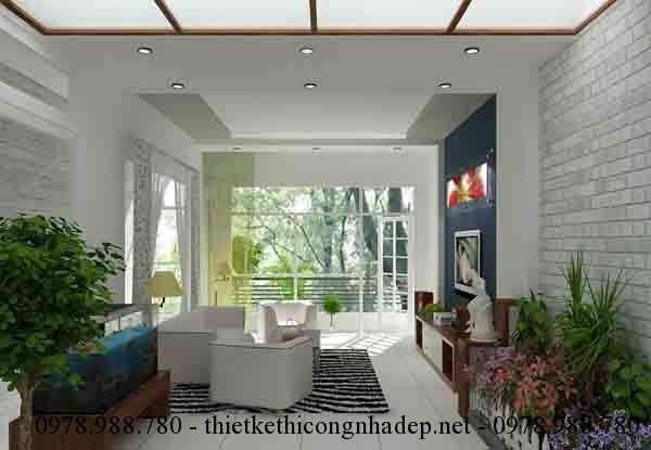 Thiết kế nội thất phòng khách đẹp cho nhà ống