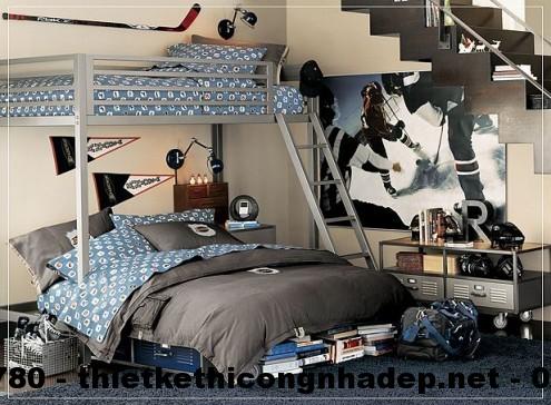 Thiết kế nội thất phòng ngủ cho bé với gam màu ghi